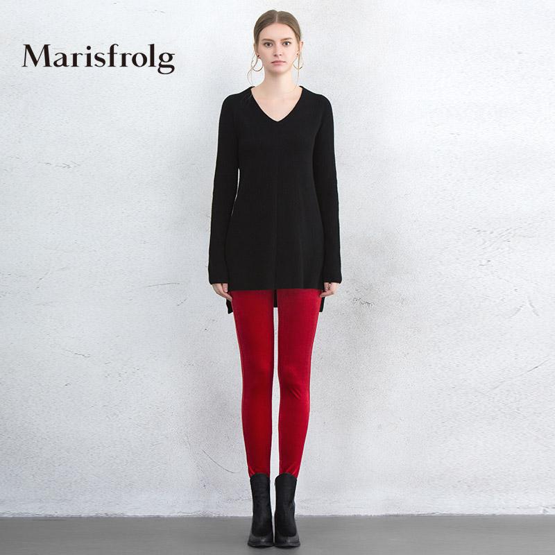 玛丝菲尔正品代购 Marisfrolg玛丝菲尔女装时尚红色显瘦打底休闲裤女裤子专柜正品_推荐淘宝好看的玛丝菲尔