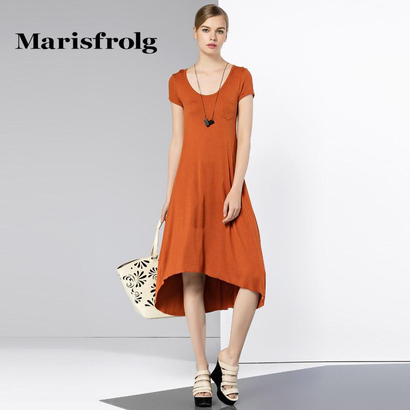玛丝菲尔女装正品 Marisfrolg玛丝菲尔专柜女装气质时尚圆领修身短袖不规则连衣裙_推荐淘宝好看的玛丝菲尔正品