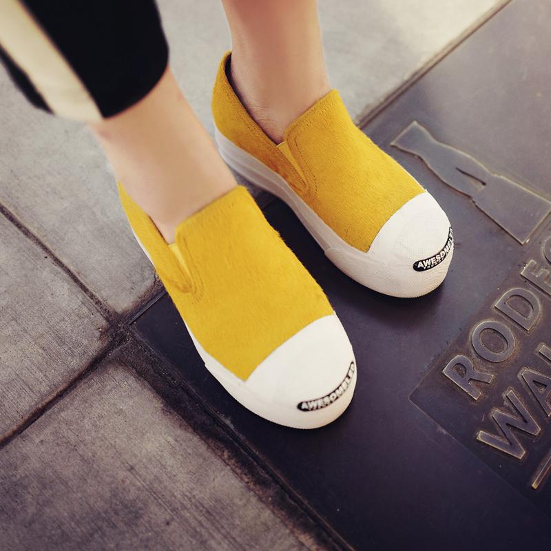 黄色厚底鞋 兔子的口袋2016秋装新款 黄色马毛鞋百搭平底乐福鞋厚底松糕底女_推荐淘宝好看的黄色厚底鞋