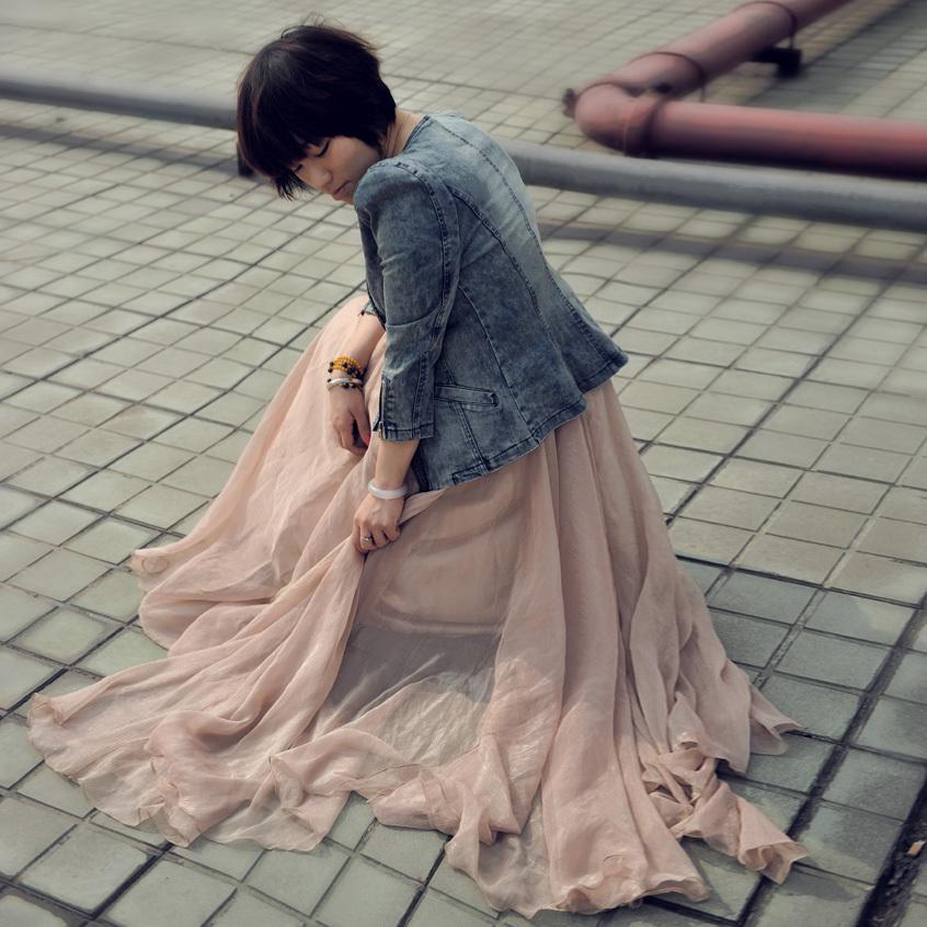 波西米亚拖地长裙半身裙 涂月波西米亚雪纺半身裙 秋季复古高腰长裙荷叶边纱裙拖地仙女裙_推荐淘宝好看的波西米亚拖地长裙半身裙