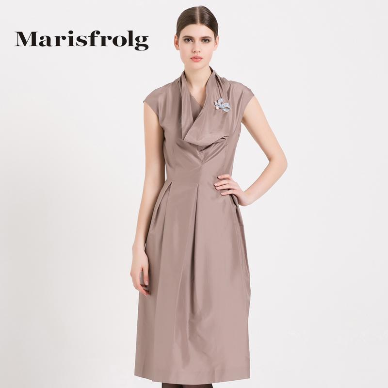玛丝菲尔女装 Marisfrolg玛丝菲尔女装时尚优雅显瘦真丝连衣裙中长裙专柜正品_推荐淘宝好看的玛丝菲尔