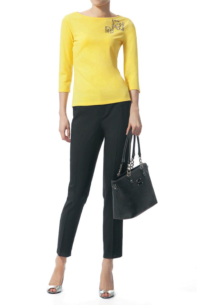 宝姿T恤 Ports女士正品 明黄针织T恤衫 LJ1N104ICD001_推荐淘宝好看的ports T恤