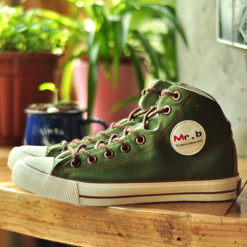 绿色高帮鞋 帆布鞋男高帮 夏季布鞋男式休闲鞋子军绿色林弯弯日系学生板鞋男_推荐淘宝好看的绿色高帮鞋