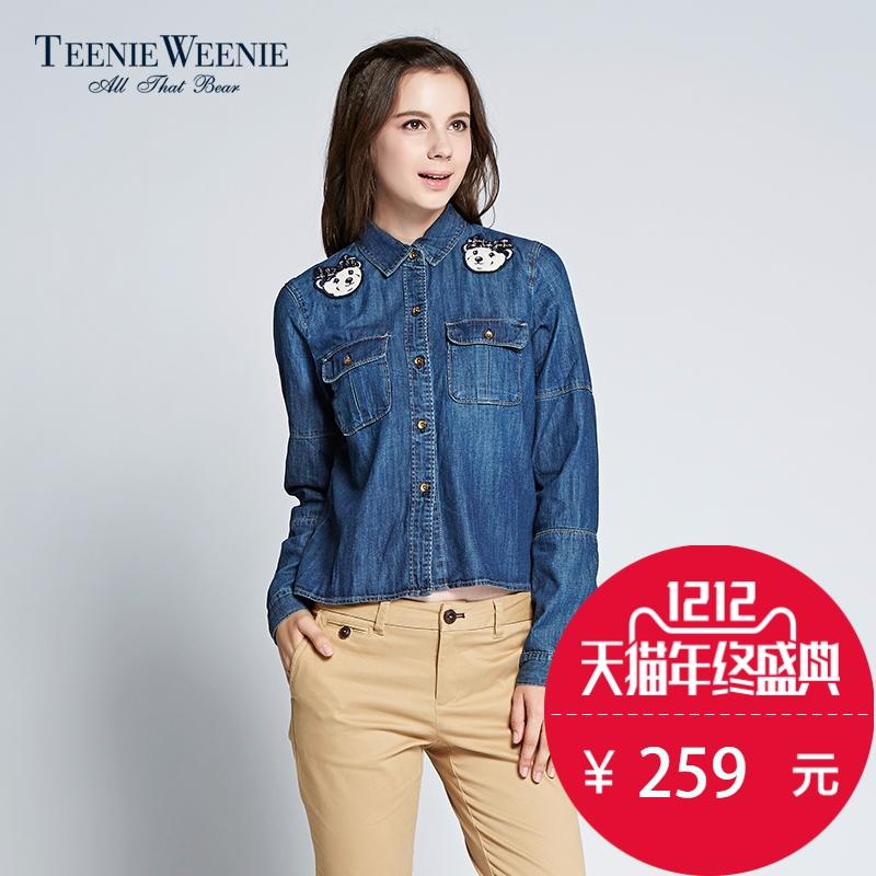 牛仔衬衫 Teenie Weenie小熊商场同款2015秋冬新品女装牛仔衬衫TTYP54901B_推荐淘宝好看的女牛仔衬衫