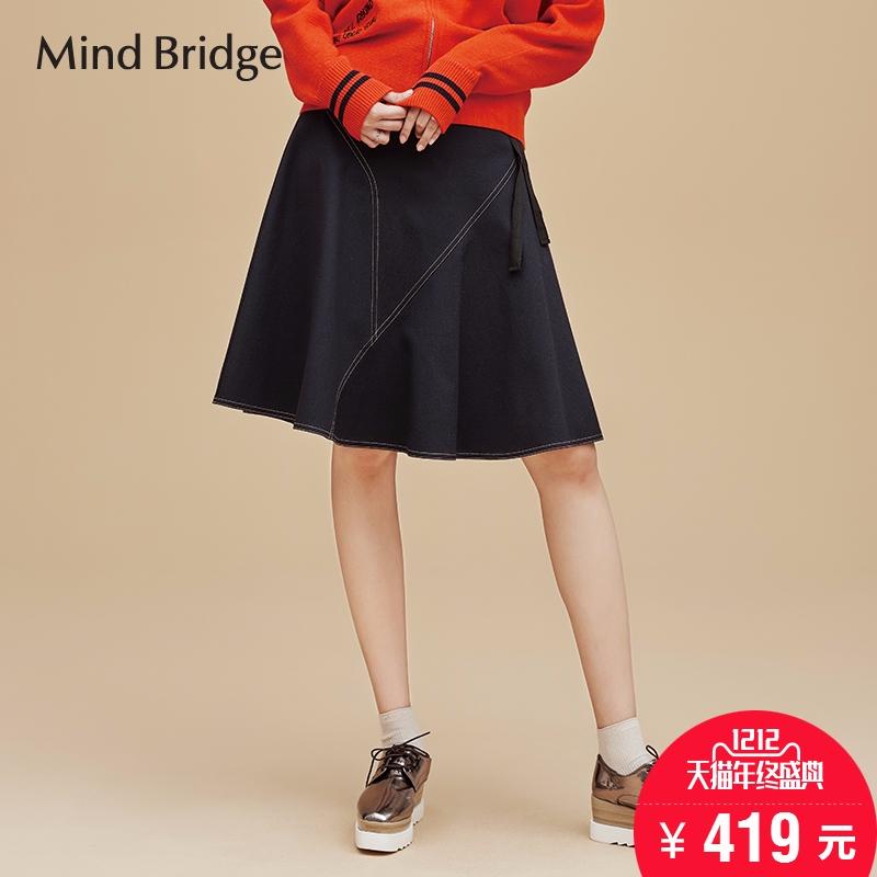 百家好半身裙 Mind Bridge百家好通勤百搭半身裙气质伞型裙子MQSK621A_推荐淘宝好看的百家好半身裙