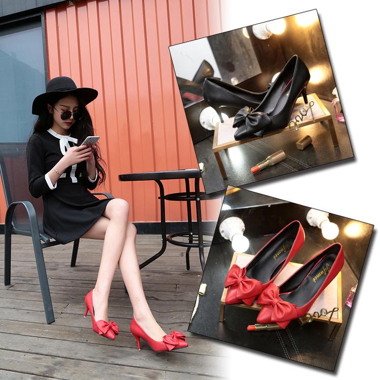 红色尖头鞋 性感公主鞋尖头高跟女鞋细跟漆皮浅口蝴蝶结红色OL工作女单鞋婚鞋_推荐淘宝好看的红色尖头鞋