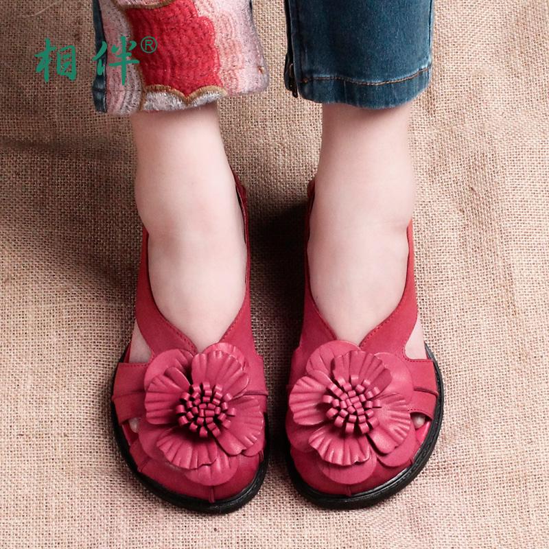 红色凉鞋 相伴夏季新款女鞋 红色花朵真皮优雅凉鞋 中跟镂空包头单鞋凉鞋潮_推荐淘宝好看的红色凉鞋