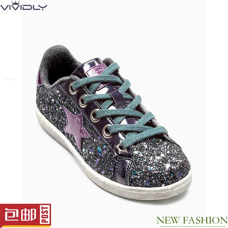 紫色平底鞋 NEXT英国童鞋代购 16秋冬大女童紫色亮片百搭系带低帮平底 运动鞋_推荐淘宝好看的紫色平底鞋
