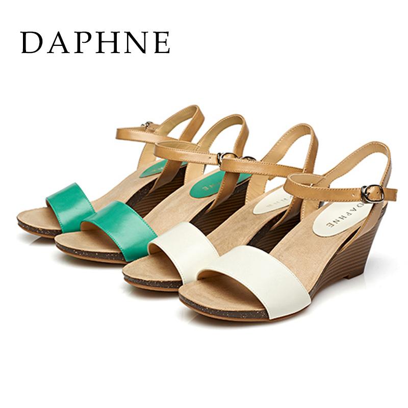 达芙妮鱼嘴鞋 Daphne达芙妮女鞋 春夏款高坡跟一字扣淑露趾凉鞋1015303035_推荐淘宝好看的女达芙妮鱼嘴鞋