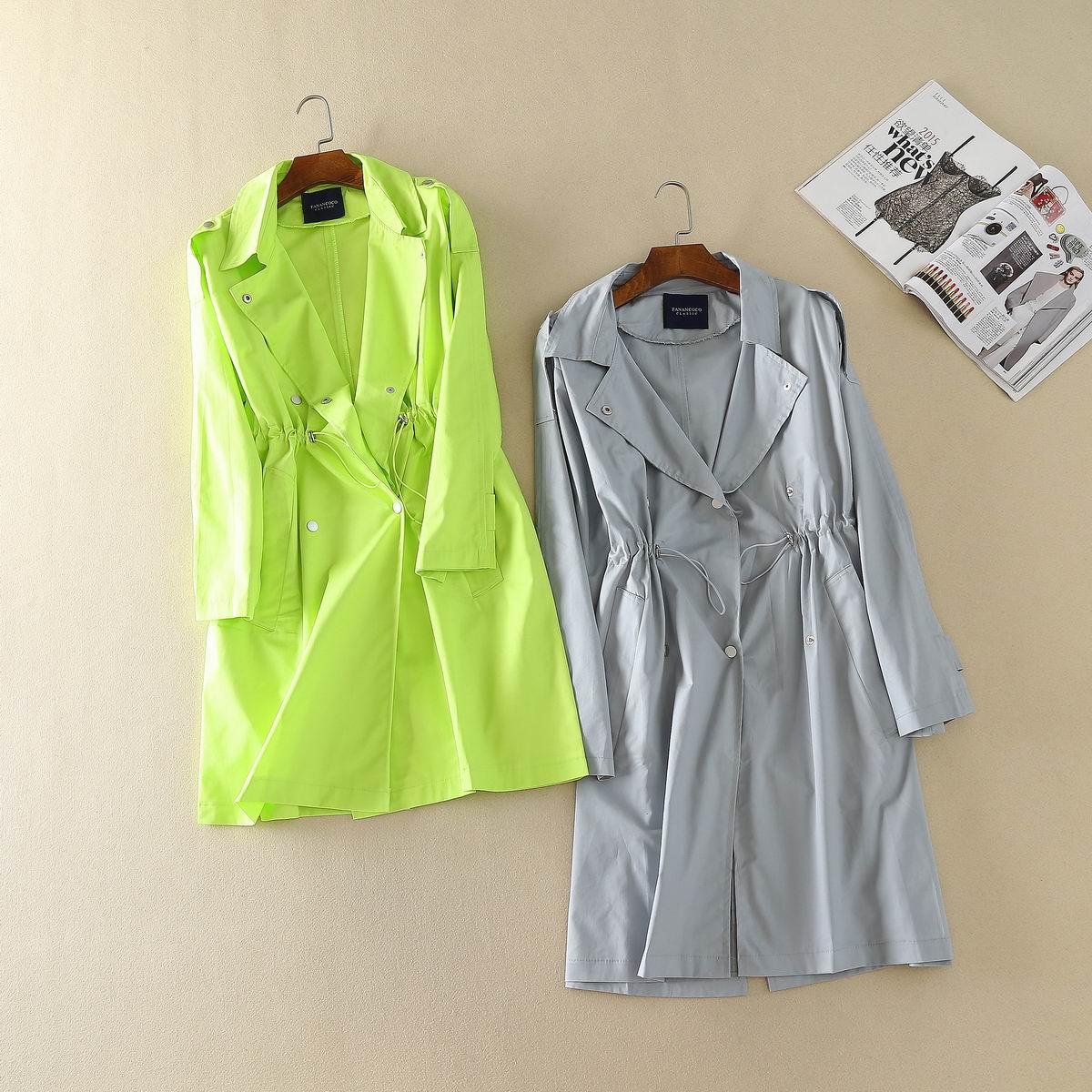 绿色风衣 韩版文艺复古纯色大翻领肩章抽绳收腰棉质中长款风衣外套0.52kg_推荐淘宝好看的绿色风衣
