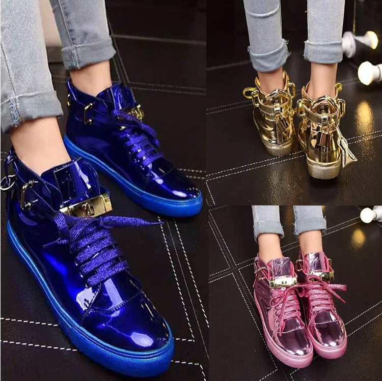 紫色高帮鞋 欧洲站女鞋镜面漆皮高帮鞋明星款同款紫色锁头潮鞋子真皮休闲鞋_推荐淘宝好看的紫色高帮鞋