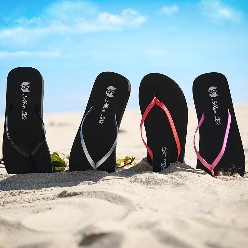 紫色厚底鞋 三紫坡跟人字拖女士夏季防滑坡跟厚底夹拖松糕沙滩凉拖鞋旅游拖_推荐淘宝好看的紫色厚底鞋