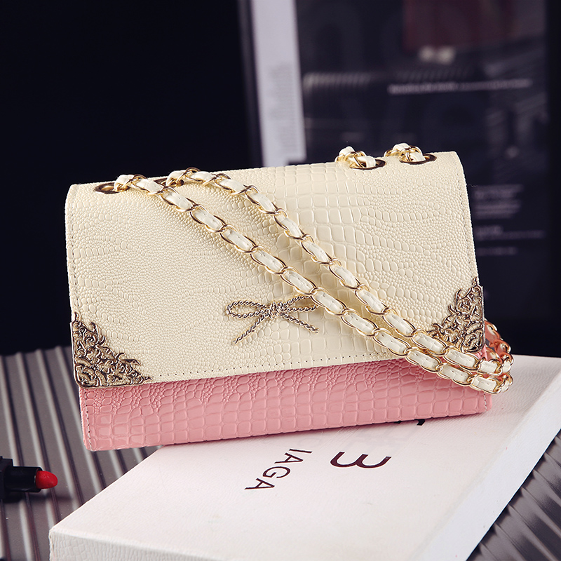 粉红色链条包 女包2017新款夏季简约单肩包手提女士包韩版潮斜跨撞色链条小包包_推荐淘宝好看的粉红色链条包