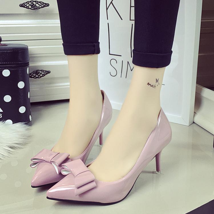 粉红色高跟鞋 春秋气质黑灰色尖头亮光皮鞋柜女高跟细跟粉红色单鞋上有花蝴蝶结_推荐淘宝好看的粉红色高跟鞋