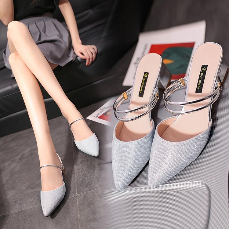最新款高跟凉鞋 2017新款女士凉鞋韩版气质凉拖鞋女夏中跟尖头粗跟一字高跟拖鞋女_推荐淘宝好看的女新款高跟凉鞋