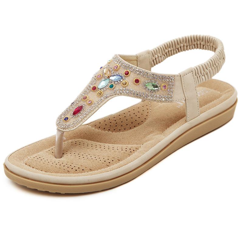新款水钻凉鞋 2017新款夏季波西米亚夹脚杏白色平跟平底水钻串珠人字拖女鞋凉鞋_推荐淘宝好看的女新款水钻凉鞋