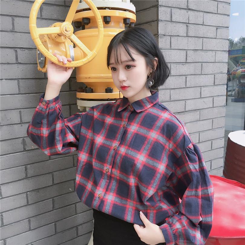 红色格子衬衫 春秋韩版学院风复古大格子宽松泡泡袖衬衫女百搭休闲原宿上衣外套_推荐淘宝好看的女红色格子衬衫