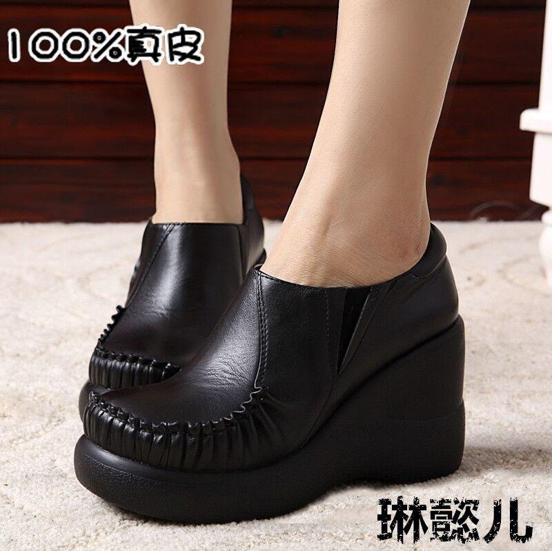 黑色松糕鞋 民族风牛皮高跟深口防水台坡跟圆头软底女鞋松糕跟黑色单鞋女包邮_推荐淘宝好看的黑色松糕鞋