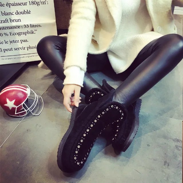 紫色平底鞋 欧美风2016秋冬季新款平底平跟紫色水钻雪地靴女黑色磨砂短靴棉鞋_推荐淘宝好看的紫色平底鞋