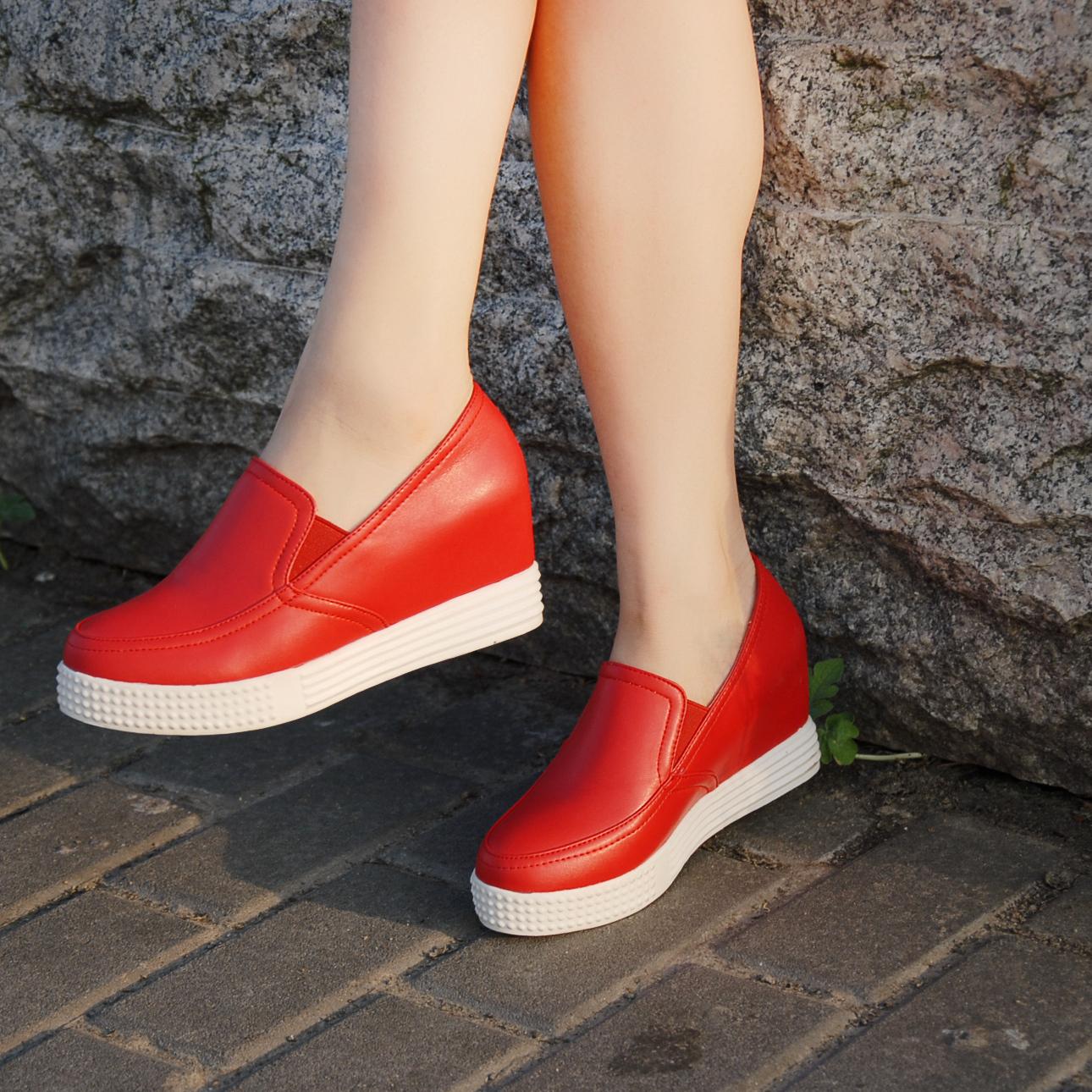 红色松糕鞋 2016四季鞋内增高小码红色乐福鞋女高跟松糕厚底圆头休闲鞋单鞋_推荐淘宝好看的红色松糕鞋