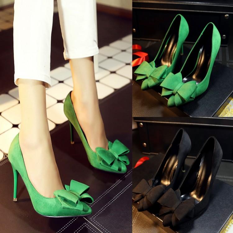 绿色高跟鞋 尖头蝴蝶结单鞋磨砂高跟鞋绿色高跟浅口磨砂尖头工作四季女鞋细跟_推荐淘宝好看的绿色高跟鞋