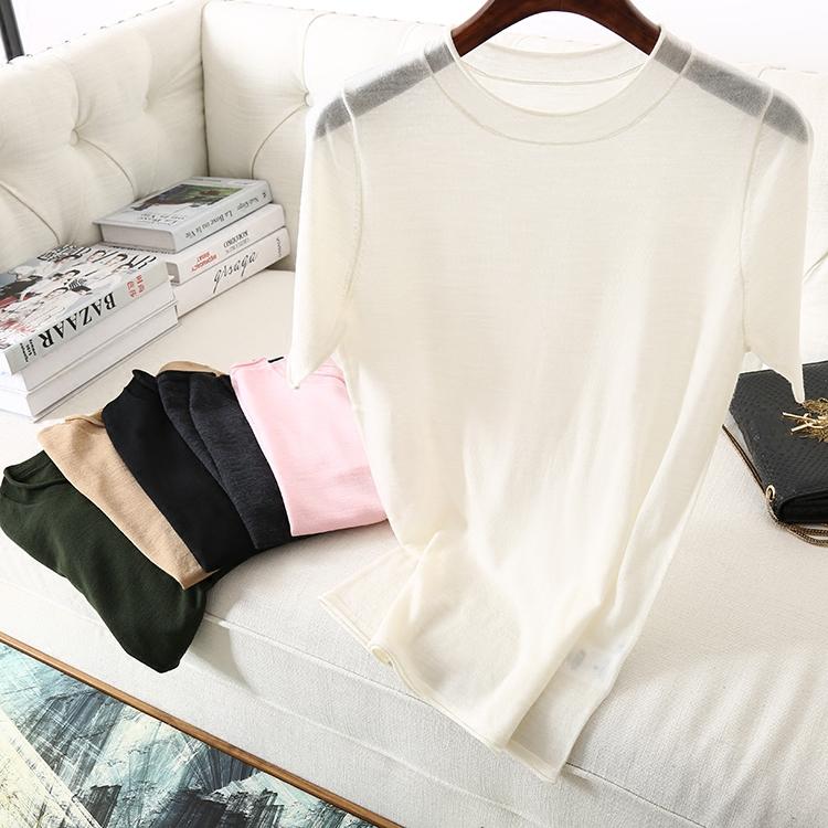短袖针织衫 能穿三季 精致80织18针工艺 圆领卷边短袖美丽诺羊毛针织衫女T恤_推荐淘宝好看的女短袖针织衫