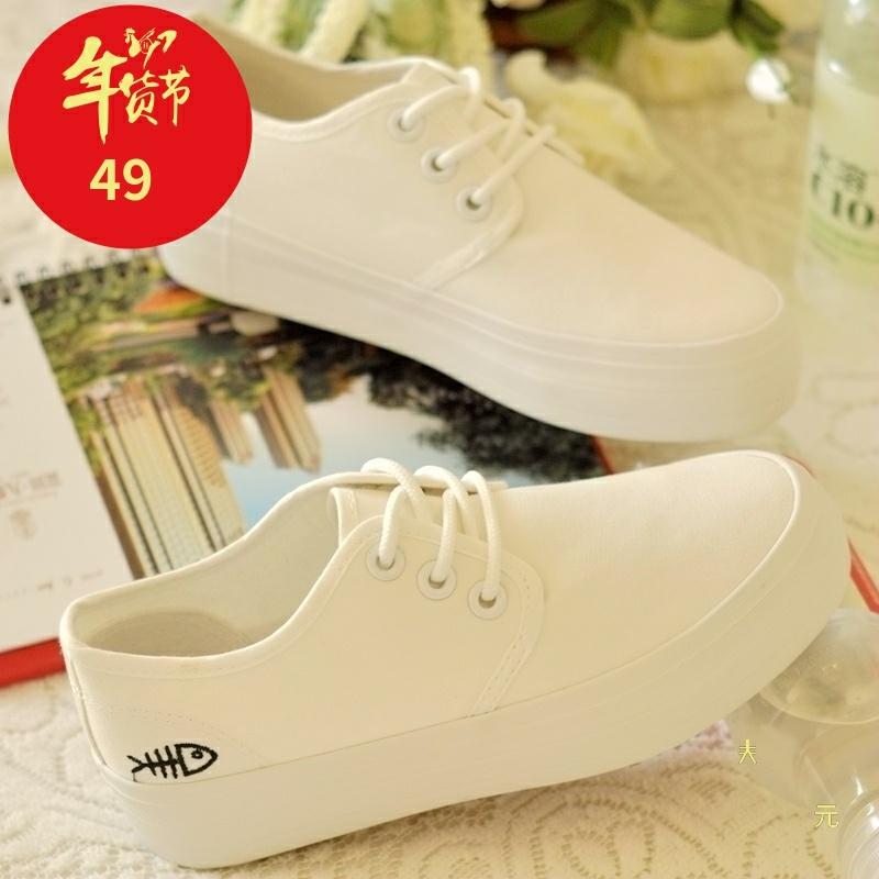 白色厚底鞋 2017春季小白鞋学生系带帆布鞋女韩版板鞋白色平底鞋休闲厚底鞋子_推荐淘宝好看的白色厚底鞋