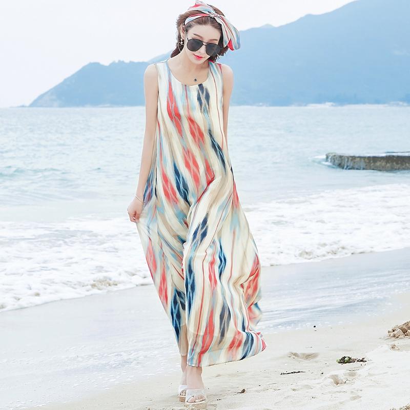 雪纺连衣裙 【维绯】夏季新款条纹沙滩裙显瘦大码波西米亚雪纺连衣裙度假裙_推荐淘宝好看的雪纺连衣裙