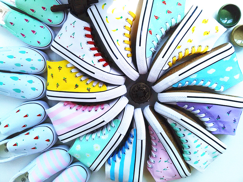 手绘帆布鞋 原宿风小清新手绘鞋帆布鞋女2017春夏款碎花高帮涂鸦休闲鞋包邮_推荐淘宝好看的女手绘帆布鞋