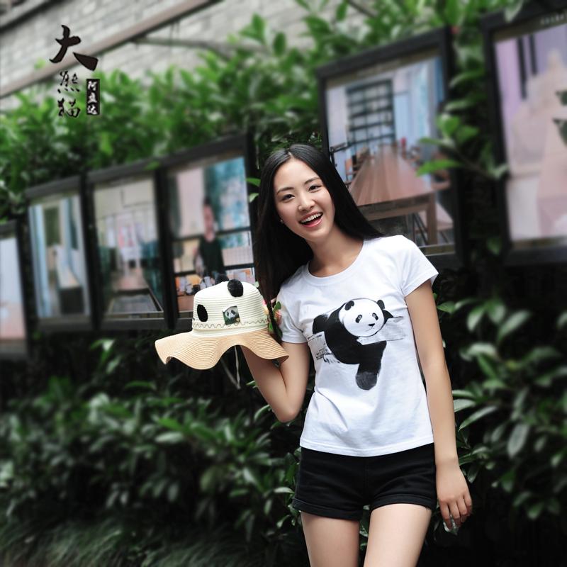 手绘白t恤 阿盘达 创意纯手绘大熊猫纯棉女士短袖T恤 亲子装情侣装手工绘制_推荐淘宝好看的女手绘白t恤