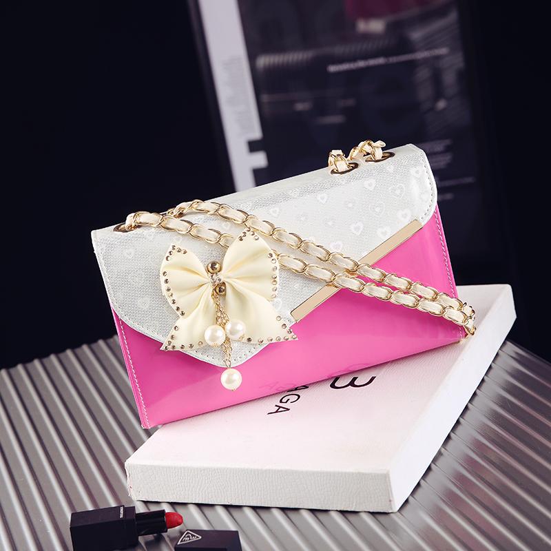 粉红色链条包 原创2017新款蝴蝶结小方包链条包包单肩斜跨手提包定型女士包包潮_推荐淘宝好看的粉红色链条包