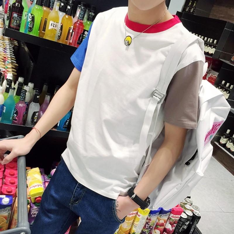 红色T恤 林弯弯短袖t恤夏季男士小清新圆领半袖衣服青少年韩版修身体恤潮_推荐淘宝好看的红色T恤