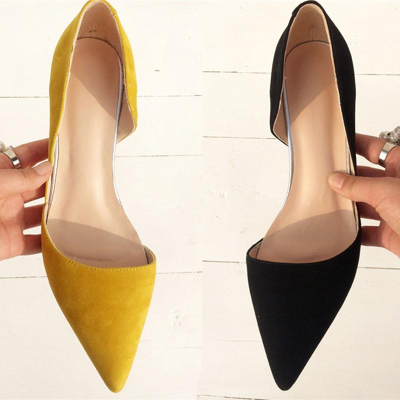 黄色凉鞋 韩版真皮细高跟鞋包头浅口尖头凉鞋女夏新款中跟黄色中空小跟女鞋_推荐淘宝好看的黄色凉鞋