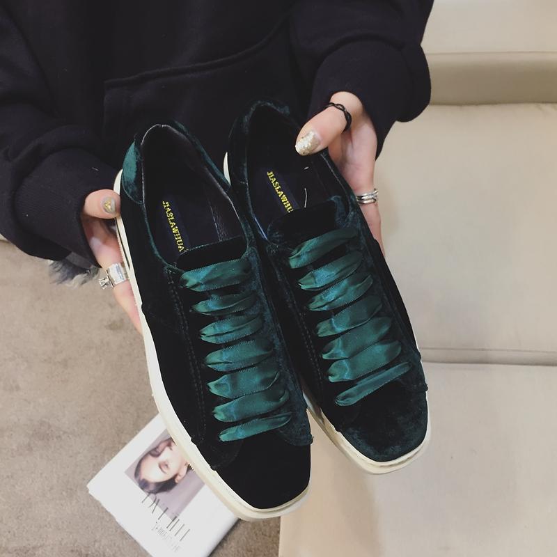 绿色松糕鞋 休闲鞋女2017春季新款韩版潮鞋性感绒面系带厚底松糕鞋子绿色包邮_推荐淘宝好看的绿色松糕鞋