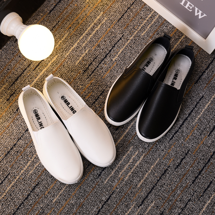时尚平底鞋 春季白色女护士鞋镂空透气平底皮面一脚蹬女鞋防水防滑时尚小白鞋_推荐淘宝好看的女时尚平底鞋
