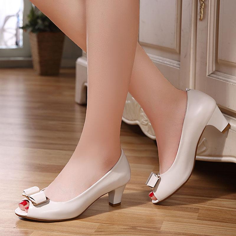 白色鱼嘴鞋 2016夏季新款真皮浅口中跟工作鞋皮鞋鱼嘴女单鞋黑色白色凉鞋女鞋_推荐淘宝好看的白色鱼嘴鞋