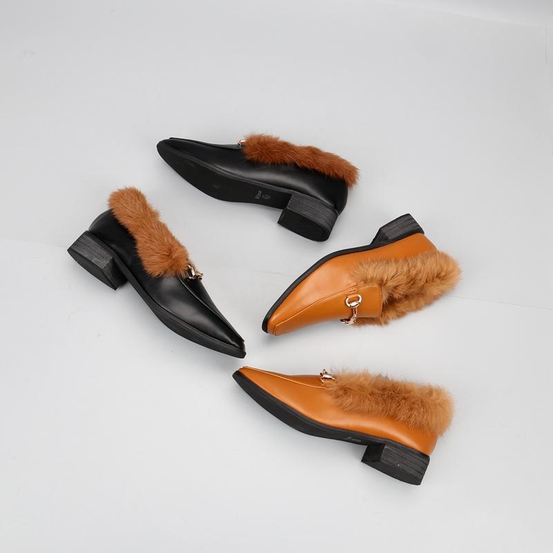 时尚单鞋 2017秋冬新款韩版单鞋粗跟中跟方头时尚百搭女鞋内里加毛乐福鞋_推荐淘宝好看的女时尚单鞋