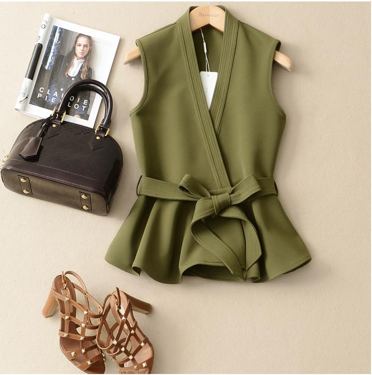 绿色小西装 马甲女2016秋装女新款时尚韩版潮系带夹克小外套显瘦短款西装马甲_推荐淘宝好看的绿色小西装