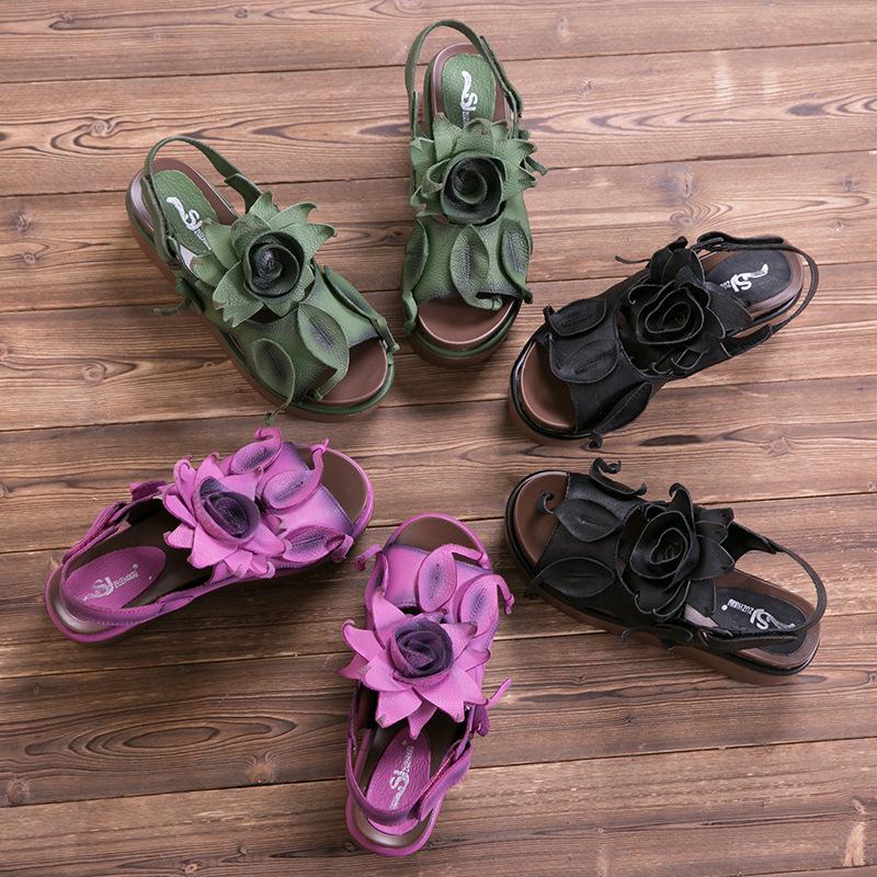 紫色凉鞋 2017复古民族风真皮个性女凉鞋高跟松糕厚底大花朵紫色牛皮女凉鞋_推荐淘宝好看的紫色凉鞋