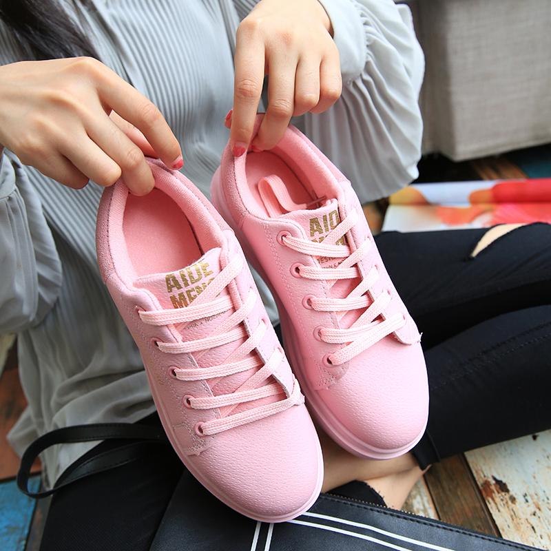 粉红色运动鞋 2016秋冬新款加厚保暖休闲鞋圆头棉鞋学生运动鞋粉红色系带女鞋子_推荐淘宝好看的粉红色运动鞋