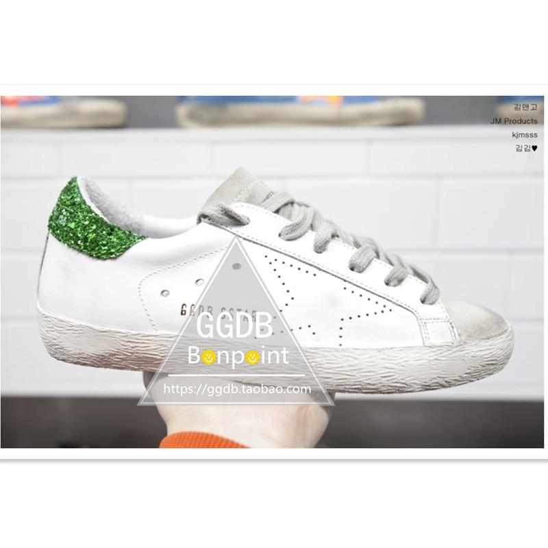 绿色运动鞋 韩国五角星鞋做旧星星鞋真皮透气运动休闲鞋绿色脏鞋小白鞋男女潮_推荐淘宝好看的绿色运动鞋