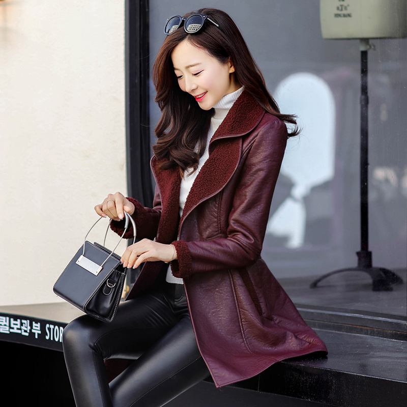 皮衣女装 2016秋冬韩版中长款加绒PU皮衣女修身显瘦一粒扣皮毛一体女士外套_推荐淘宝好看的皮衣女