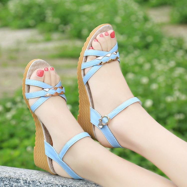 罗马坡跟鞋 反季清仓16新款中跟凉鞋女夏季露趾水钻坡跟波西米亚罗马凉鞋特价_推荐淘宝好看的罗马坡跟鞋