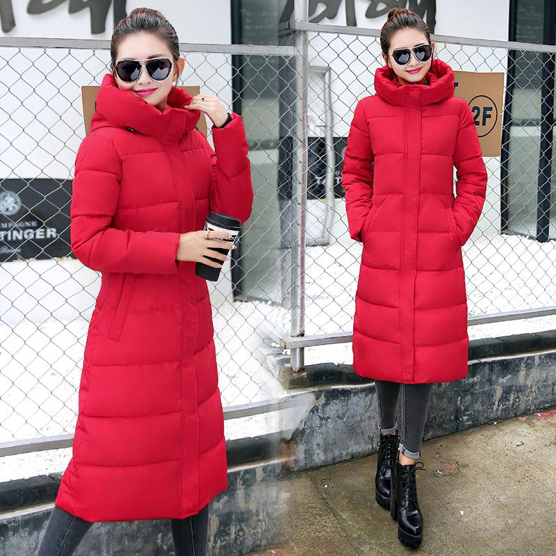 红色羽绒服 冬季新款羽绒棉服女中长款连帽修身过膝保暖棉衣女大码加厚防寒服_推荐淘宝好看的红色羽绒服