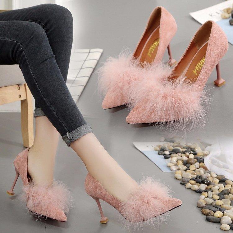 粉红色尖头鞋 2017冬季高跟厚底尖头中口鞋子女鞋黑色粉红色韩版纯色系带黄色PU_推荐淘宝好看的粉红色尖头鞋