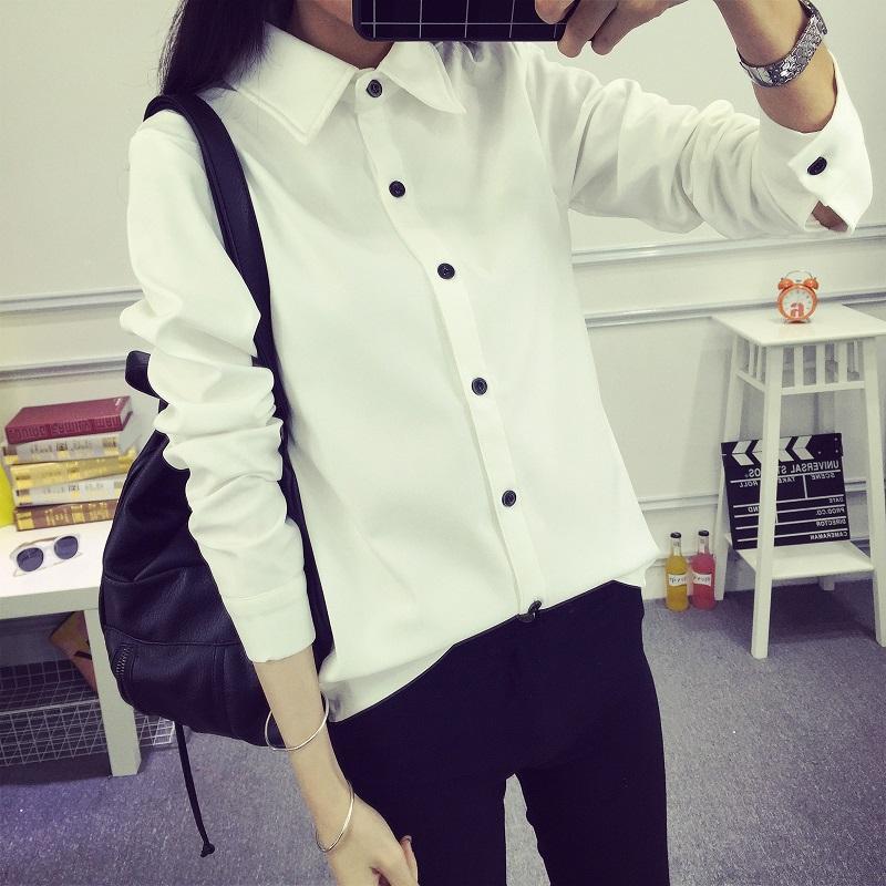 白衬衫 秋冬新款韩版衬衣加绒加厚学生学院风修身长袖大码白衬衫女打底衫_推荐淘宝好看的女白衬衫