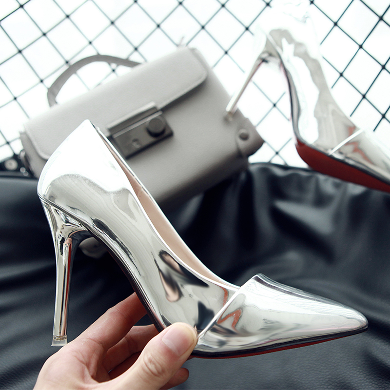 性感高跟鞋 2016秋季银色单鞋女欧美尖头性感时尚高跟鞋细跟浅口漆皮职业女鞋_推荐淘宝好看的女性感高跟鞋