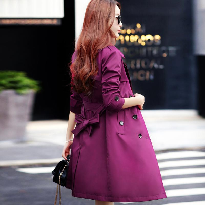 紫色风衣 2017新款春秋装韩版修身显瘦大码潮中长款大衣双排扣外套女式风衣_推荐淘宝好看的紫色风衣