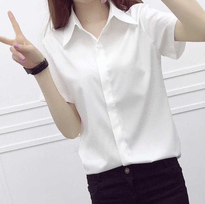 白衬衫 夏装新款韩版白色短袖衬衫女修身简约大码学生衬衣工装OL职业上衣_推荐淘宝好看的女白衬衫