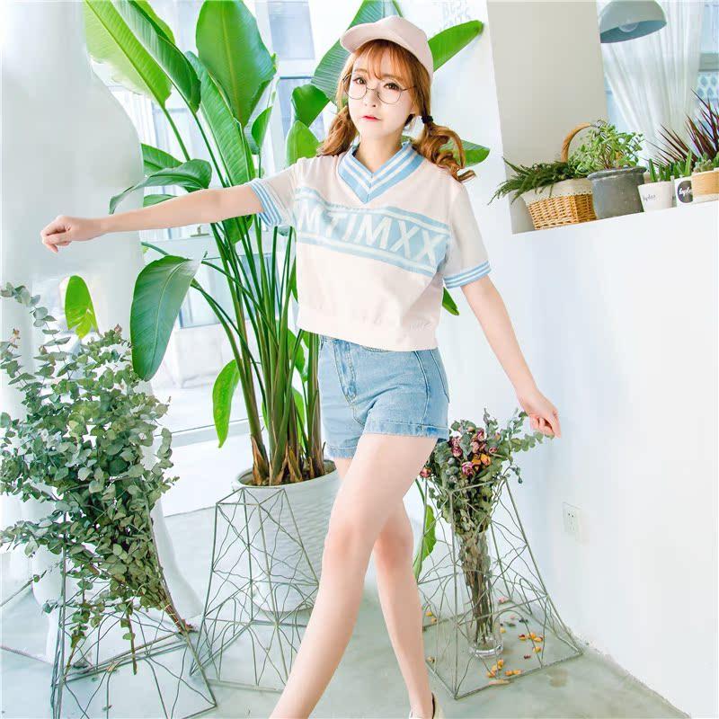 日系女装 向日宅物林小宅同款夏季女装新款短袖T恤蓝色v领tee日系风格少女_推荐淘宝好看的日系女装